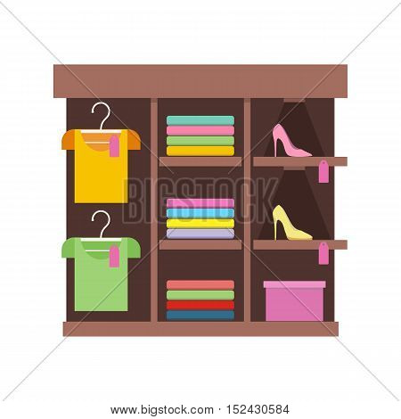 Shelves with clothes in shop. Clothing store illustration. People shopping, marketing people, customer in mall, retail store illustration. Isolated object on white background. Vector illustration.