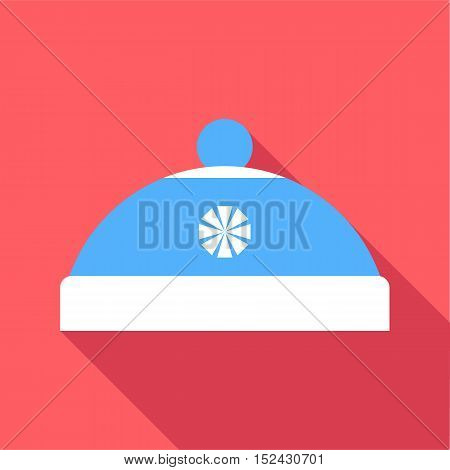 Blue hat with pompom icon. Flat illustration of blue hat with pompom vector icon for web