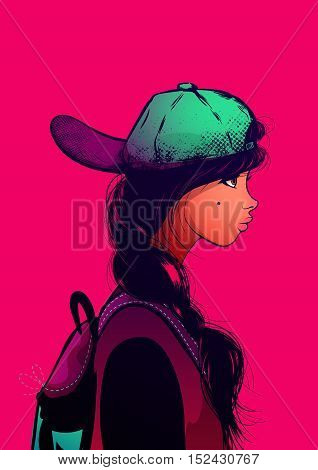 Portrait hipster girl in a cap and with fashion multicolored clothes.