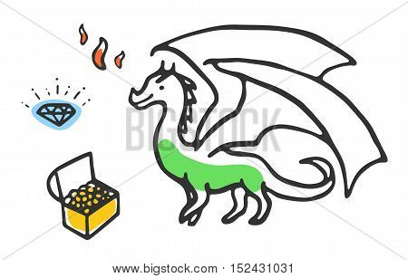 Dragon with treasures and fire. Cute cartoon illustration isolated on white. Green dragon with brilliant and gold