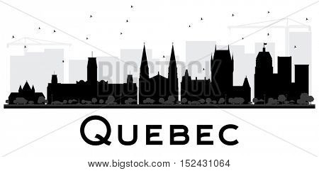 Quebec City skyline black and white silhouette. Vector illustration. Simple flat concept for tourism presentation, banner, placard or web site. Business travel concept. Cityscape with landmarks