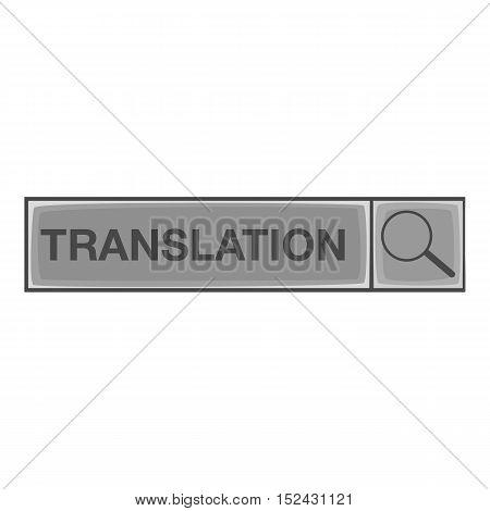 Translation search icon. Gray monochrome illustration of translation search vector icon for web