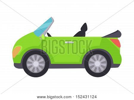 Green cabriolet icon isolated on white background. Car travel concept vector illustration. Flat design. Road travelling concept web banner. Road trip adventure. Vector illustration in flat style.