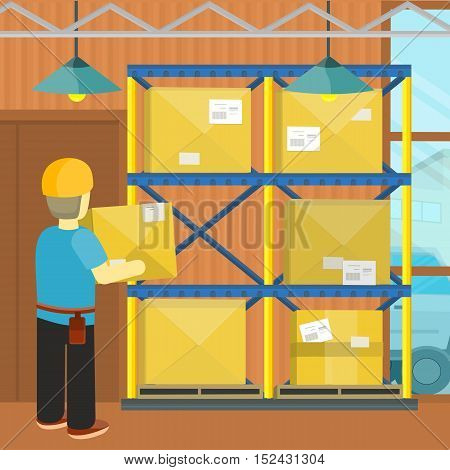 Pallet with boxes in warehouse interior. Man load boxes on shelves for goods. Logistic and factory. Business delivery. Delivering cargo into storage. Industrial storehouse, distribution. Vector