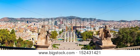 Panorama of Barcelona from the mountain Montjuic. View of the square of Spain, Plaza de Espana. Spain.