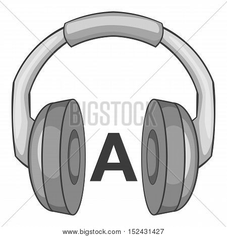 Language learning in headphonese icon. Gray monochrome illustration of language learning in headphones vector icon for web