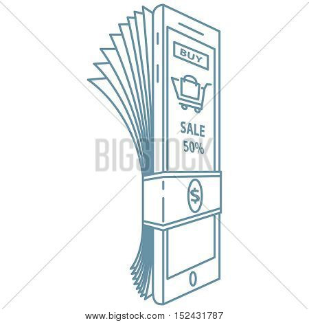 Mobile payment illustration. Hand holds smartphone with online banking and touch pay button.