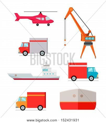 Set of transports for goods delivering. Helicopter truck excavator ship container car icons. Logistics container shipping and distribution. Transportation to any part of world. Loading and unloading
