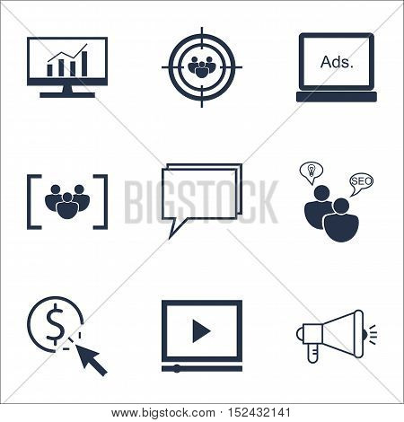 Set Of Marketing Icons On Digital Media, Seo Brainstorm And Video Player Topics. Editable Vector Ill