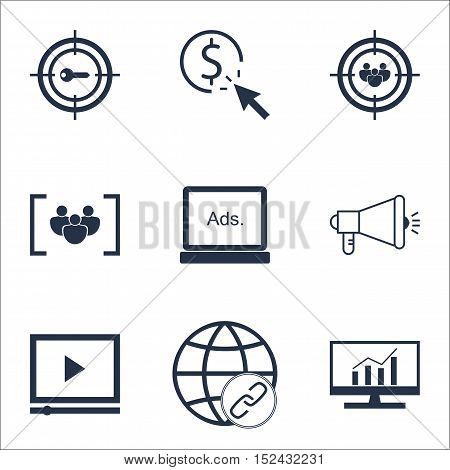 Set Of Advertising Icons On Media Campaign, Focus Group And Video Player Topics. Editable Vector Ill