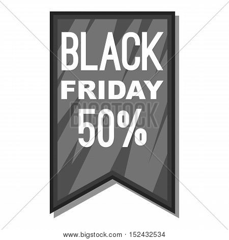 Label black friday fifty percent icon. Gray monochrome illustration of label black friday fifty percent vector icon for web