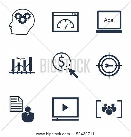 Set Of Seo Icons On Digital Media, Video Player And Loading Speed Topics. Editable Vector Illustrati