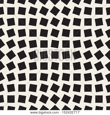 Vector Seamless Black and White Square Rhombus Pattern. Abstract Geometric Background Design