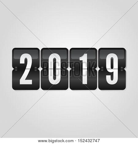 Happy New Year 2019 scoreboard congratulation flip symbol on grey gradient background