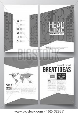 Set of business templates for brochure, magazine, flyer, booklet or annual report. Microchip background, electrical circuits, polygonal texture, connected lines, scientific or digital design template