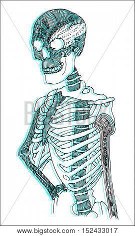 skeleton psychedelic illustration