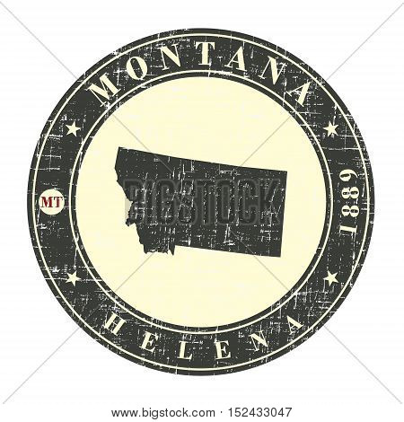 Vintage stamp with map of Montana. Stylized badge with the name of the State year of creation the contour maps and the names abbreviations . Vector illustration