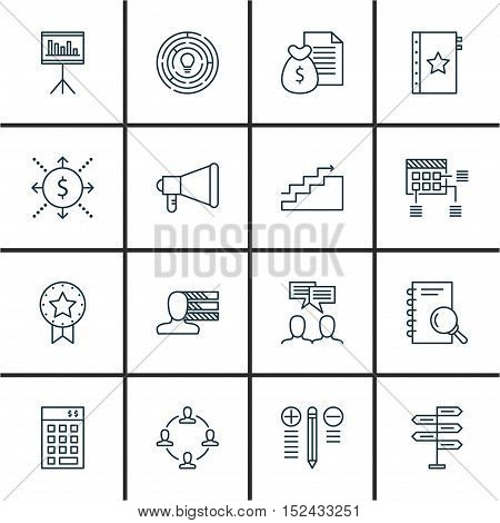 Set Of Project Management Icons On Innovation, Announcement And Money Topics. Editable Vector Illust