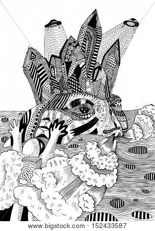 psychedelic surreal cosmonaut poster