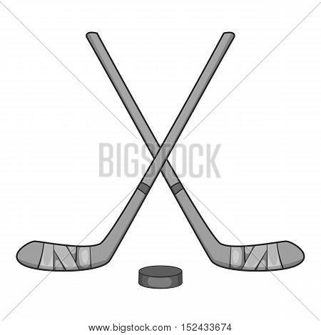 Hockey sticks and puck icon. Gray monochrome illustration of hockey sticks and puck vector icon for web