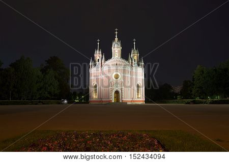 Old Chesme Church in july night. Saint Petersburg