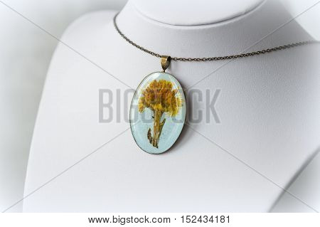 Handmade Pendant Made Of Epoxy Resin And Dry Coltsfoot Flower