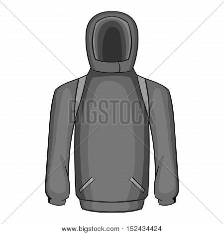 Men winter sweatshirt icon. Gray monochrome illustration of men winter sweatshirt vector icon for web