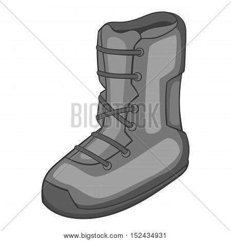 Boot for snowboarding icon. Gray monochrome illustration of boot for snowboarding vector icon for web