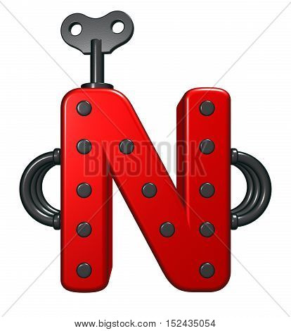 letter n with decorative pieces - 3d rendering