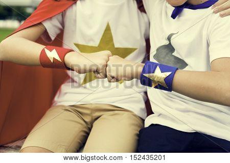 Superheroes Kids Fist Bump Powerful Concept