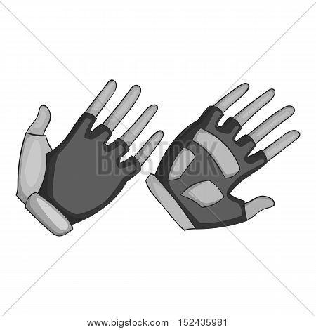 Gloves for biker icon. Gray monochrome illustration of gloves for biker vector icon for web