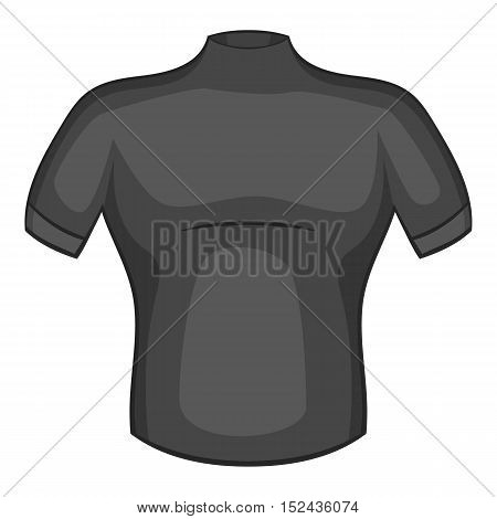 T-shirt for cyclists icon. Gray monochrome illustration of t-shirt for cyclists vector icon for web