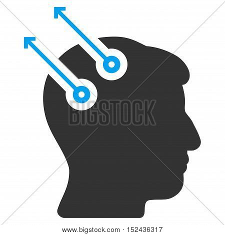 Neural Interface Plugs vector pictograph. Style is flat graphic bicolor symbol, blue and gray colors, white background.