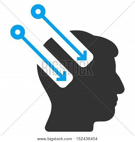 Neural Interface vector pictograph. Style is flat graphic bicolor symbol, blue and gray colors, white background.