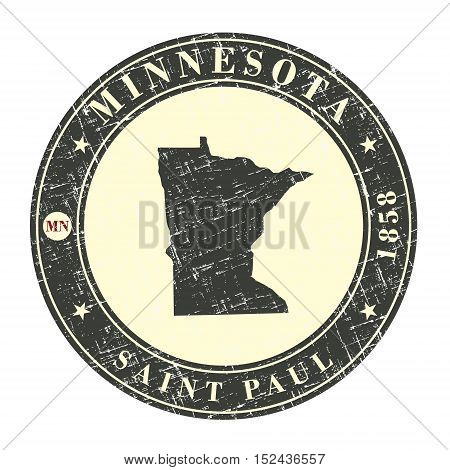 Vintage stamp with map of Minnesota. Stylized badge with the name of the State year of creation the contour maps and the names abbreviations . Vector illustration