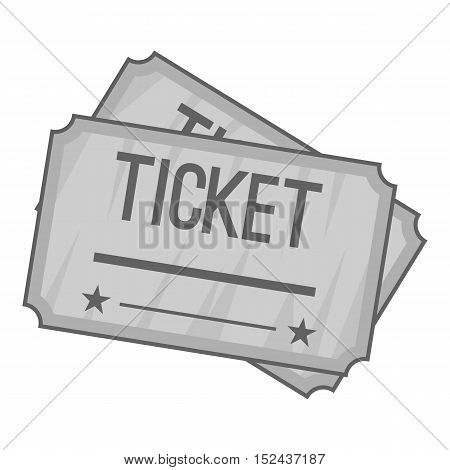 Ticket icon. Gray monochrome illustration of ticket vector icon for web