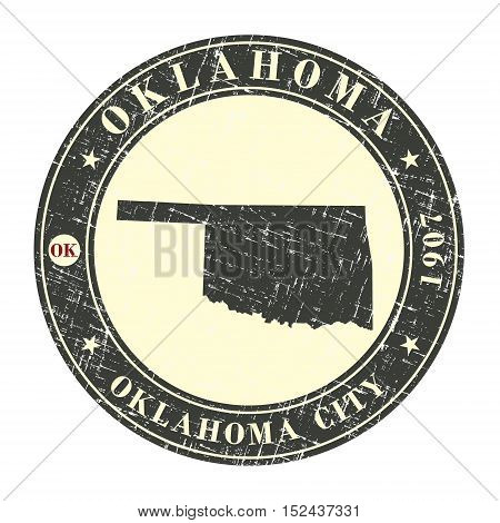 Vintage stamp with map of Oklahoma. Stylized badge with the name of the State year of creation the contour maps and the names abbreviations . Vector illustration