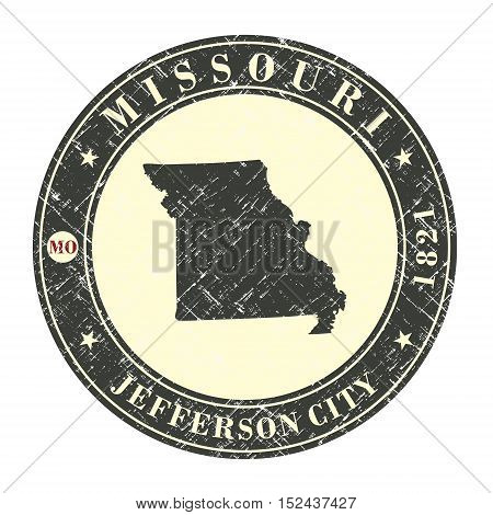 Vintage stamp with map of Missouri. Stylized badge with the name of the State year of creation the contour maps and the names abbreviations . Vector illustration