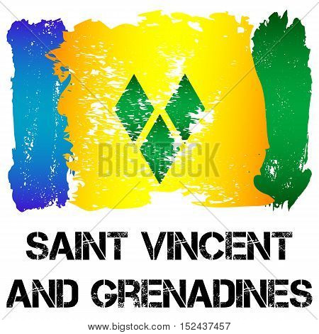 Flag of Saint Vincent and Grenadines from brush strokes in grunge style isolated on white. Independent state in North America within Commonwealth headed by Great Britain. Vector illustration