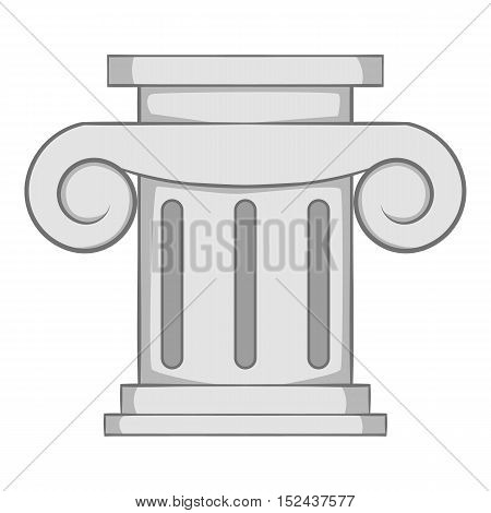 Roman column icon. Gray monochrome illustration of roman column vector icon for web