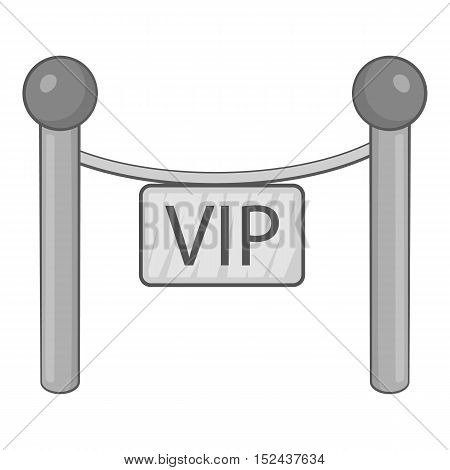 Decorative poles with tape for VIP icon. Gray monochrome illustration of decorative poles with tape for VIP vector icon for web