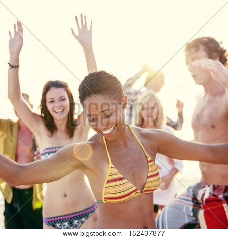 Beach Dancing Party Vacation Bikini Cheerful Concept
