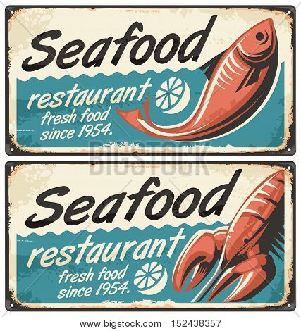 Seafood retro signs set on old damaged metal background
