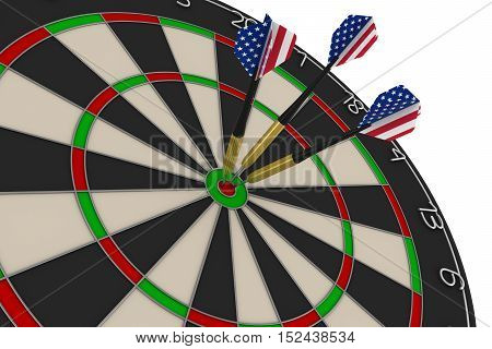Dart Board With Three Us Flag Darts In Bullseye 3D Illustration