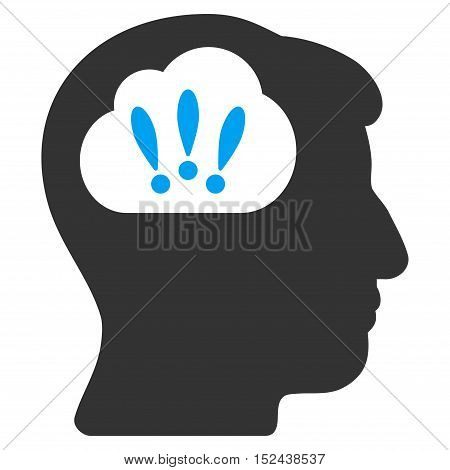 Problem Brainstorm vector pictograph. Style is flat graphic bicolor symbol, blue and gray colors, white background.