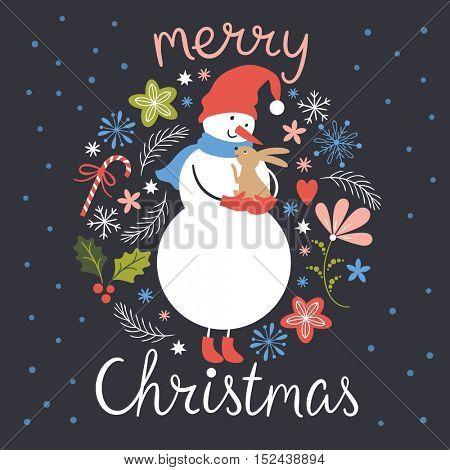 Cute Snowman with little rabbit, Christmas illustration