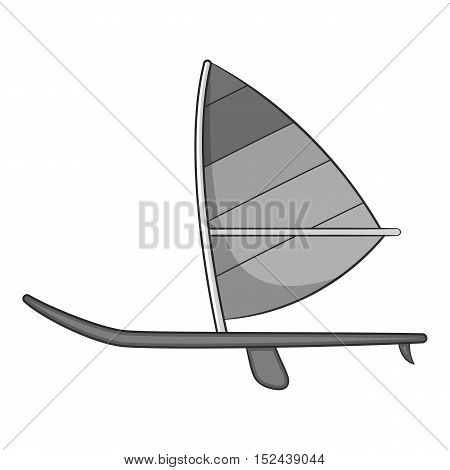 Sport boat with sail icon. Gray monochrome illustration of sport boat with sail vector icon for web