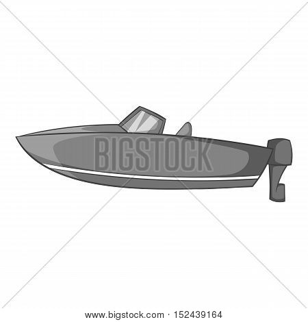 Motor boat icon. Gray monochrome illustration of motor boat vector icon for web
