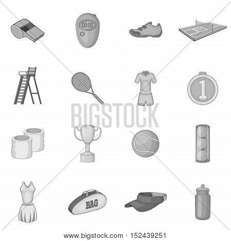 Tennis icons set. Gray monochrome illustration of 16 tennis vector icons for web