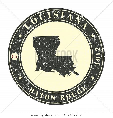 Vintage stamp with map of Louisiana. Stylized badge with the name of the State year of creation the contour maps and the names abbreviations . Vector illustration